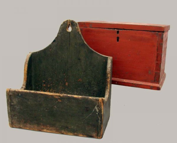 455: TWO PAINTED WOODEN BOXES.