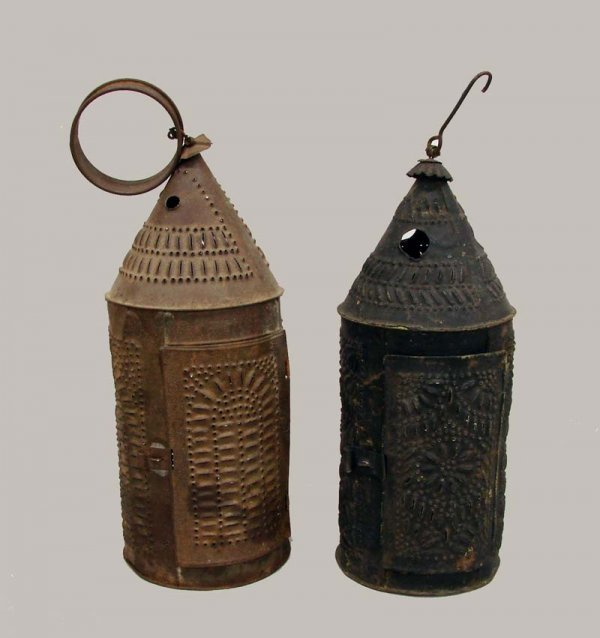 461: TWO PUNCHED TIN LANTERNS.