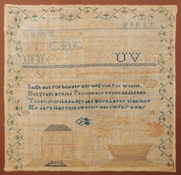 "4: MARYLAND SAMPLER. Ca. 1837. Silk on linen. Signed ""C"