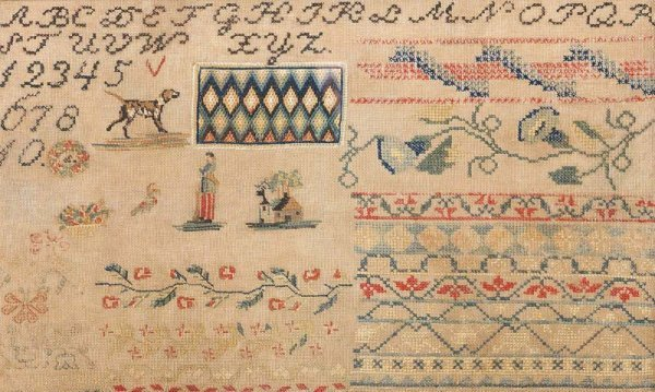 6: SAMPLER WITH SOLDIER. Mid 19th Century, Possibly Ind