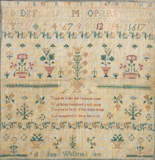 7: SAMPLER. Probably English. Silk on closely woven woo