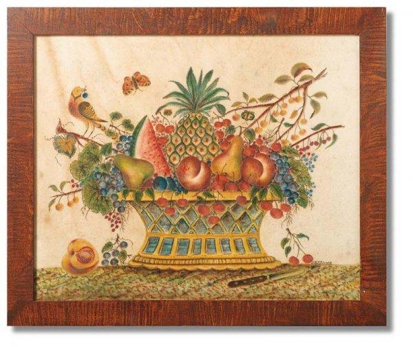 10: LARGE THEOREM BY ELLINGER. Basket of fruit on a clo