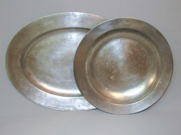 24: TWO PIECES OF PEWTER. First half 19th Century. Char