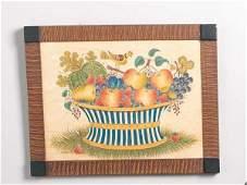 311 THEOREM BY ELLINGER Watercolor on velvet signed D
