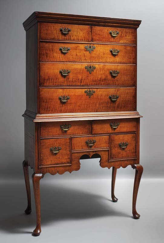 515: QUEEN ANNE HIGH CHEST OF DRAWERS. Massachusetts, c