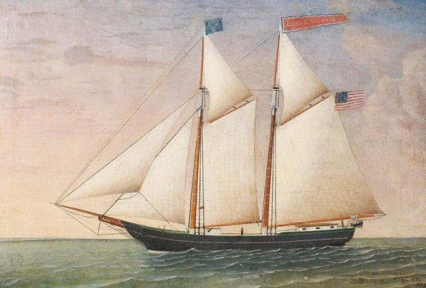 517: PAINTING OF THE SCHOONER EMMA L. GREGORY. Oil on c