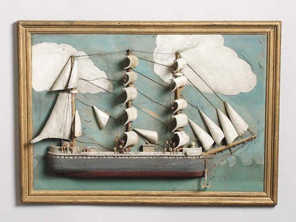 523: SHIP DIORAMA. Late 19th or early 20th Century. Woo