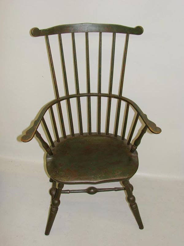 524: HIGH-BACK WINDSOR ARMCHAIR. Retains old surface of
