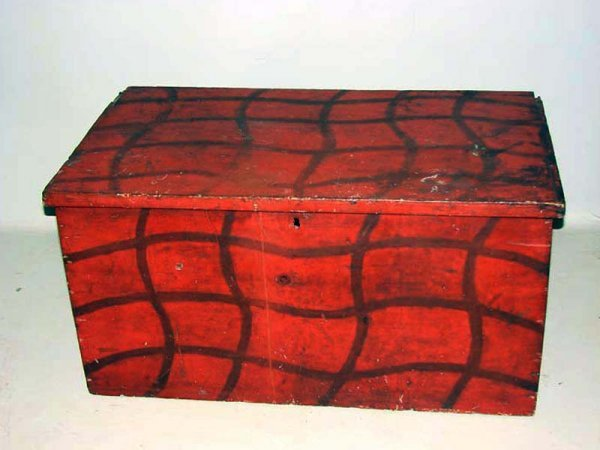 525: PAINT DECORATED TRUNK. First half 19th Century. At