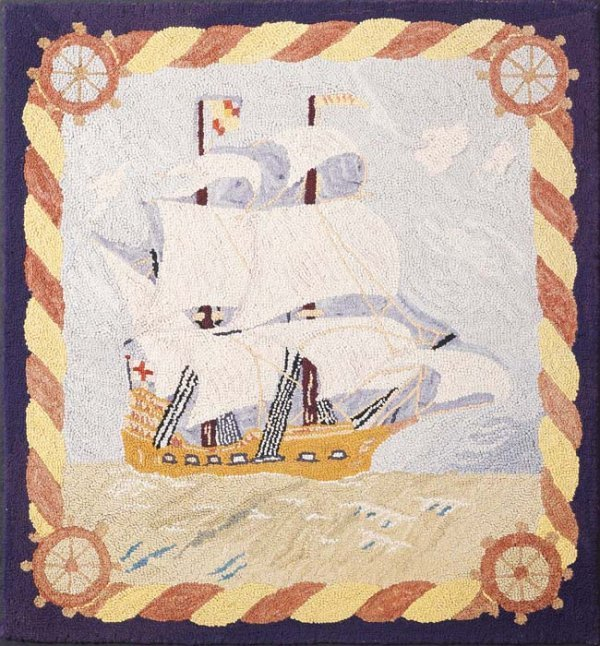 527: NAUTICAL HOOKED RUG. Tightly worked wool on burlap