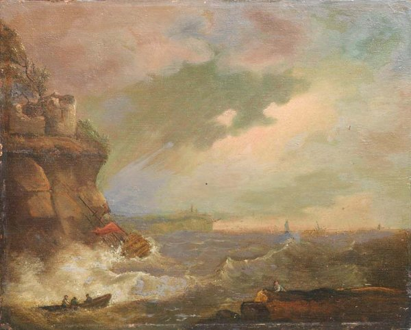 532: SEASCAPE ON WOODEN PANEL. European, 18th/19th Cent