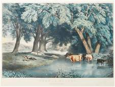 883 CURRIER  IVES LITHOGRAPH Summer Shades large fo