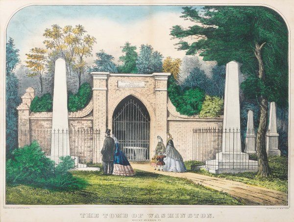 CURRIER & IVES LITHOGRAPH. The Tomb of Washington,
