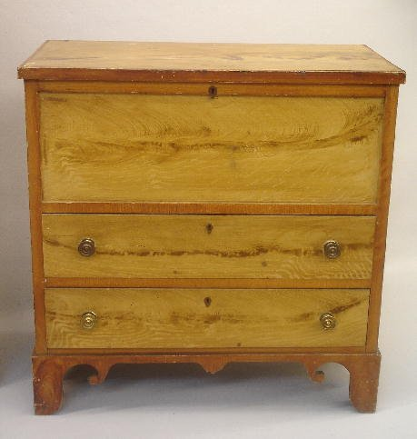 334: SMALL DECORATED TWO-DRAWER MULE CHEST. New England