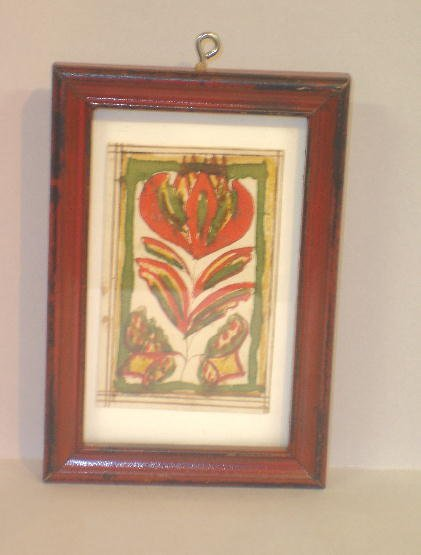 338: SMALL FRAMED WATERCOLOR. A red, yellow and green t