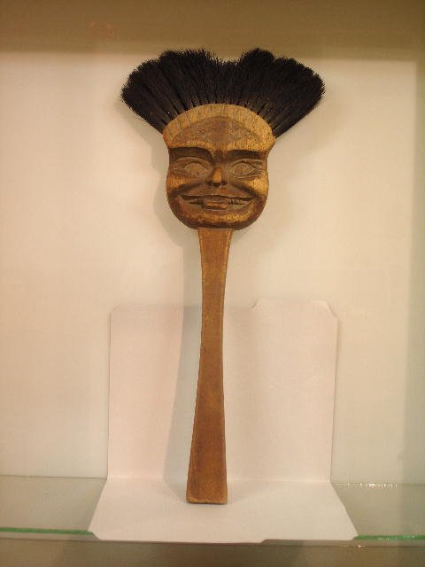 339: UNUSUAL CARVED WOODEN HEARTH BRUSH. Walnut with th