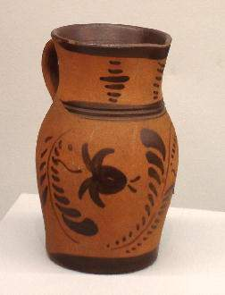NEW GENEVA POTTERY PITCHER. Red colored clay with fi