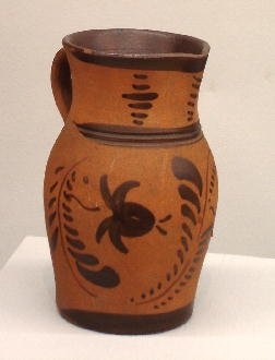 2: NEW GENEVA POTTERY PITCHER. Red colored clay with fi