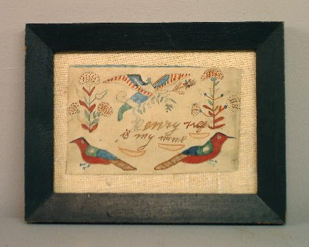 7: WATERCOLOR ON LAID PAPER. Good colors with birds, fl