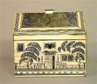 FINE SCRIMSHAW HOUSE-SHAPED SEWING BOX. Pegged sati