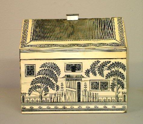 16: FINE SCRIMSHAW HOUSE-SHAPED SEWING BOX. Pegged sati