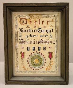 OHIO FRAKTUR. Birth record from Pandora, Ohio. Ink