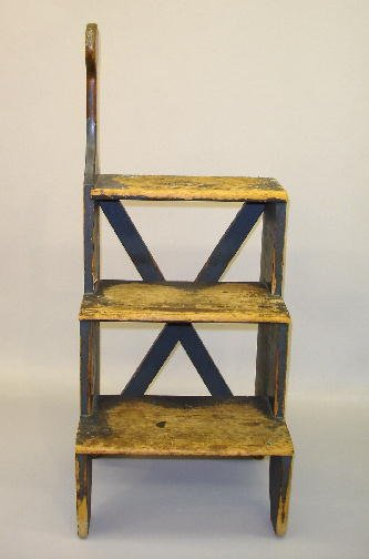 19: SHAKER BED STEPS IN OLD BLUE GREY PAINT. Pine with