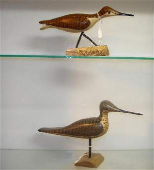 """TWO CARVED WOODEN SHOREBIRDS. Both are signed by """"P"""