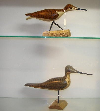 """21: TWO CARVED WOODEN SHOREBIRDS. Both are signed by """"P"""