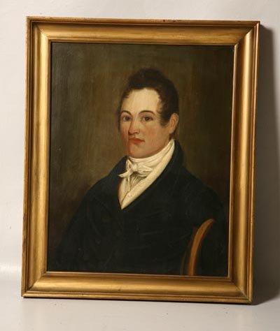 1: PORTRAIT ON WOODEN BOARD. American, ca. 1820's. Oil