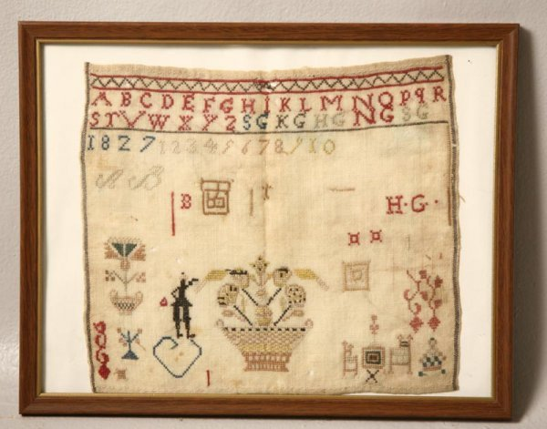 2: SAMPLER Dated 1827. Probably English. Silk on wool.