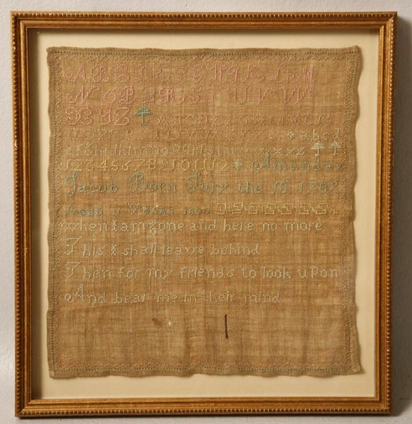"3: MASSACHUSETTS SAMPLER. Silk on linen. Made by ""Amand"