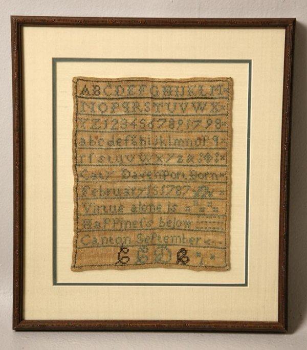 """4: MASSACHUSETTS SAMPLER Ca 1795-1800. Made by """"Caty Da"""