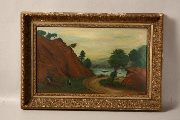 5: LANDSCAPE PAINTING WITH STEAMBOAT. American, mid 19t