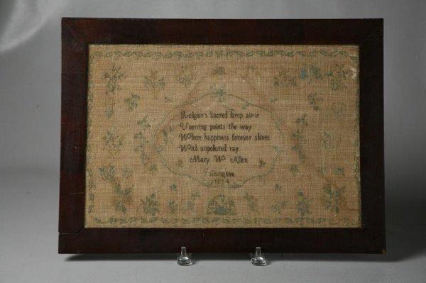 "7: PENNSYLVANIA QUAKER SAMPLER. Signed ""Mary W. Allen,"