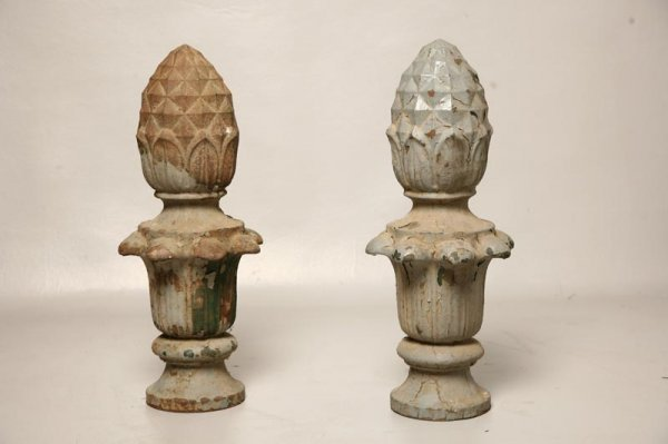 56: PAIR OF STREET LIGHT FINIALS. Cast iron pineapple s