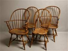 291 FOUR WINDSOR STYLE CHAIRS Two sack back armchairs