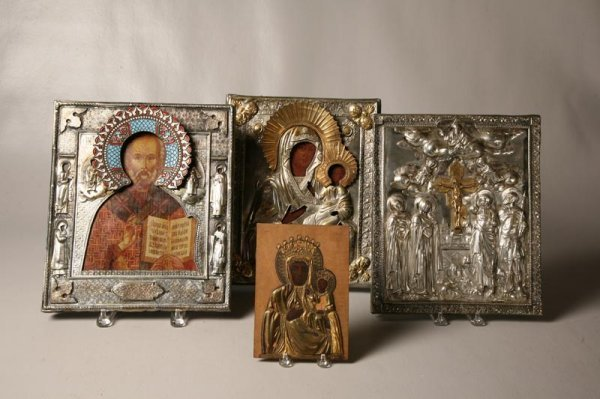 416: FOUR ICONS. Russian or eastern European. Three are