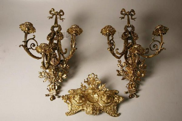 417: BRASS WALL SCONCES AND STANDISH. 20th Century. Pai