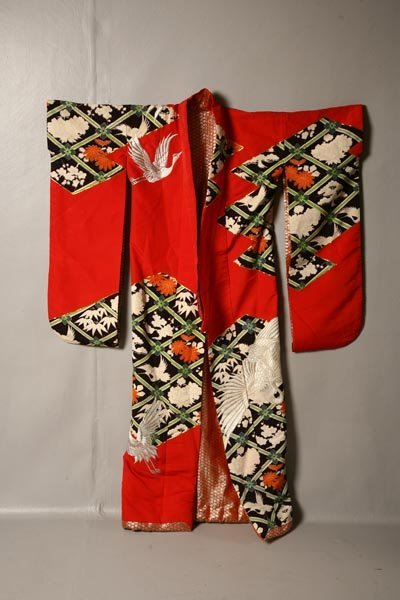425: JAPANESE ROBE. 20th Century. Red silk outer robe,