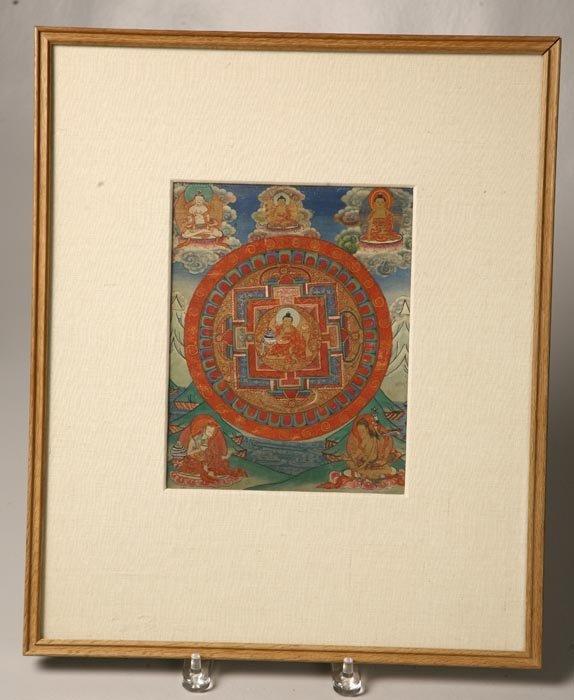 427: MANDALA. Buddhist watercolor on cloth (probably si