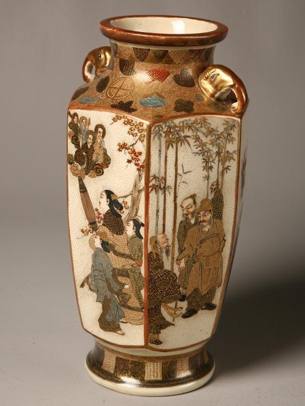 434: SATSUMA VASE. Japan, ca. 1910. Paneled vase with e