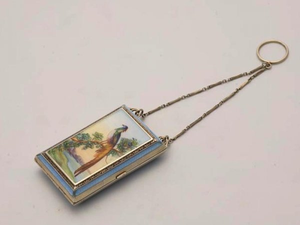 """1282: GUILLOCHE ENAMEL COMPACT. Sterling case marked """"9"""