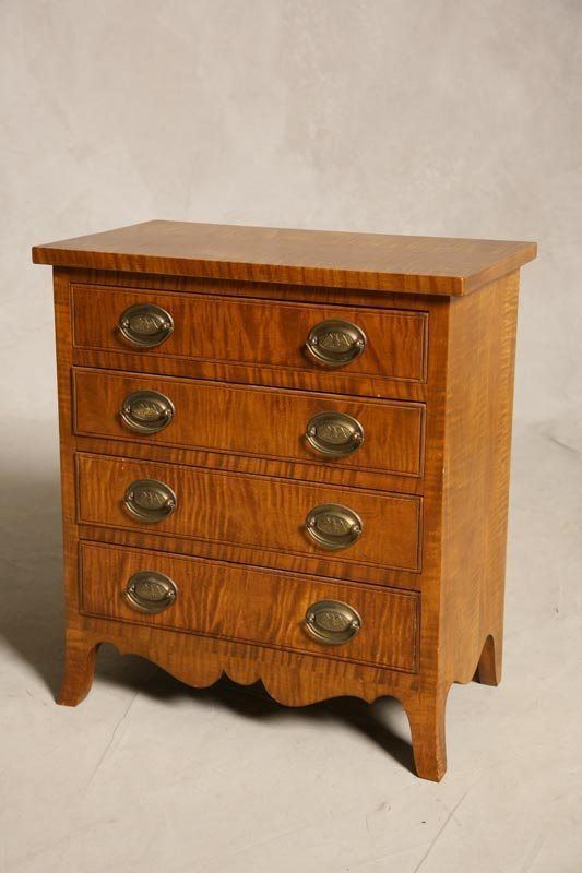 2001: CHILD SIZE CURLY MAPLE CHEST. Hepplewhite style w