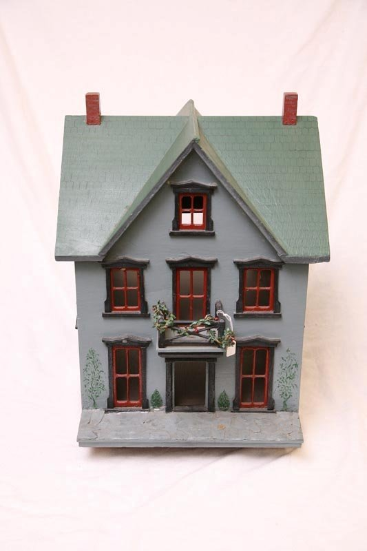 2003: DOLL HOUSE. Two story with green roof and blue pa