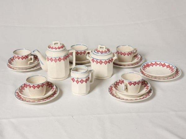 2009: FIFTEEEN PIECE STICK SPATTER CHILD'S TEA SET. Tea