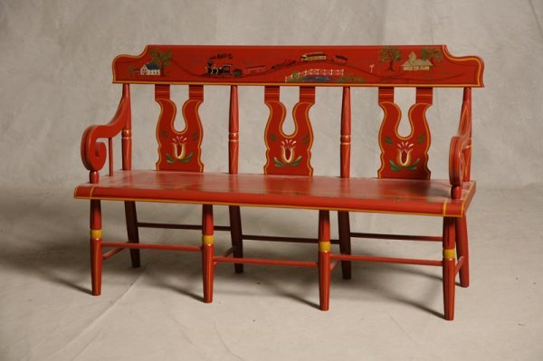"""2012: CHILD'S BENCH. Windsor style by """"J.S. Ebersol, In"""