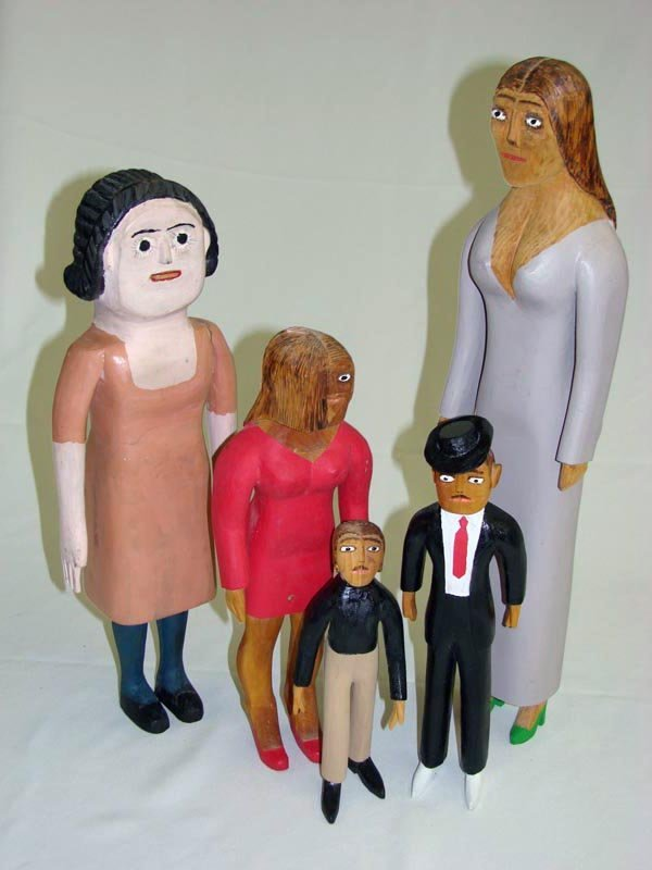 2013: FIVE WOOD FOLK ART CARVED AND PAINTED FIGURES. Th