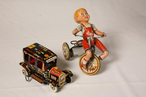 """2019: TWO TIN WIND UP TOYS. """"Kiddy Cyclist"""" by Unique T"""