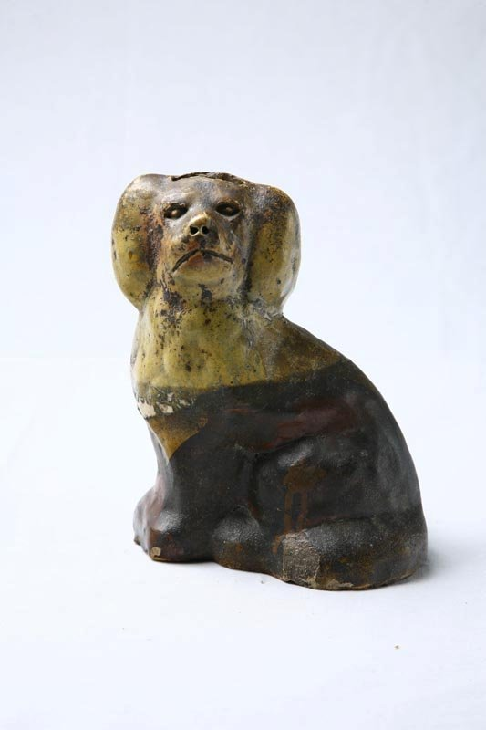 404: WHITE CLAY MOLDED DOG BANK. Paint decorated in whi
